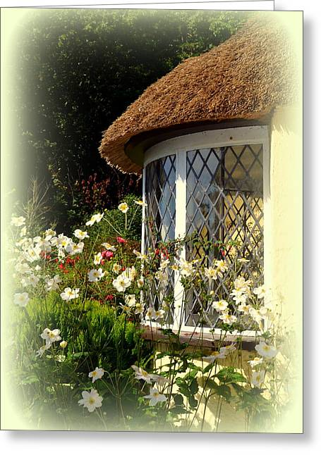 Thatched Cottage Window Greeting Card by Carla Parris