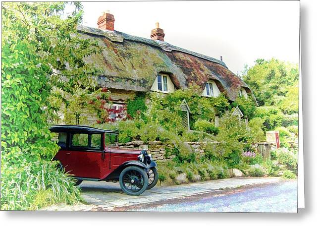 Thatched Cottages At Reybridge Greeting Card