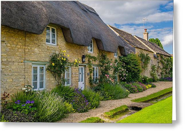 Thatched Cottages Minster Lovell Oxfordshire Greeting Card by David Ross