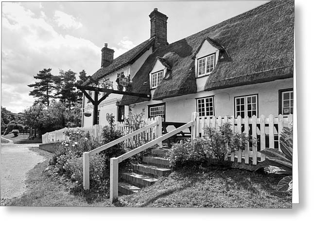 Thatched Inn - Coach And Horses Bw Greeting Card by Gill Billington