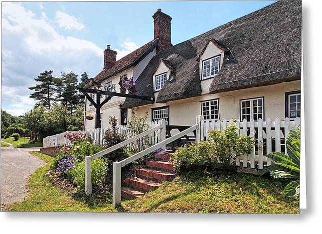 Thatched Inn - Coach And Horses Greeting Card by Gill Billington