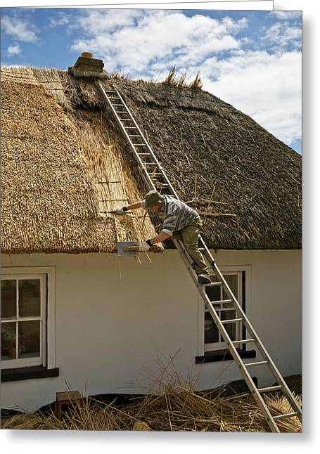 Thatching A Cottage,dunmore East Greeting Card