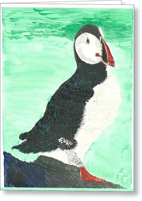 Greeting Card featuring the painting That's Another Puffin Year Over by Tracey Williams