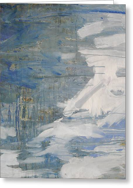 Greeting Card featuring the painting Thaw Water Ice Abstraction by John Fish