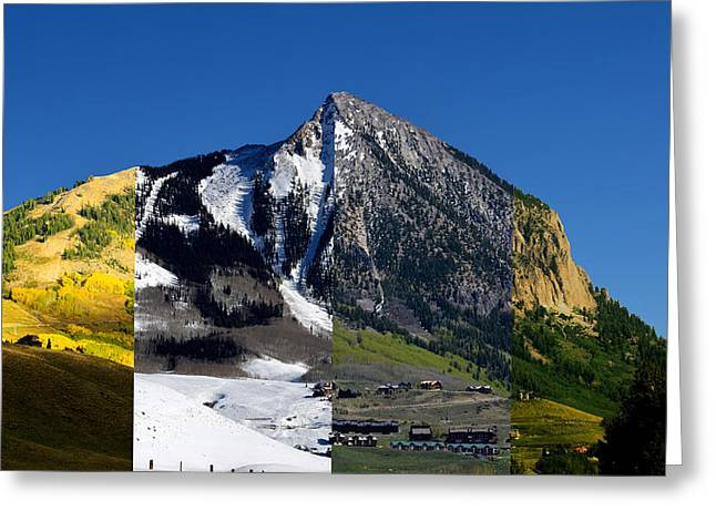 The 4 Seasons In Mt. Crested Butte Greeting Card by Mike Schmidt