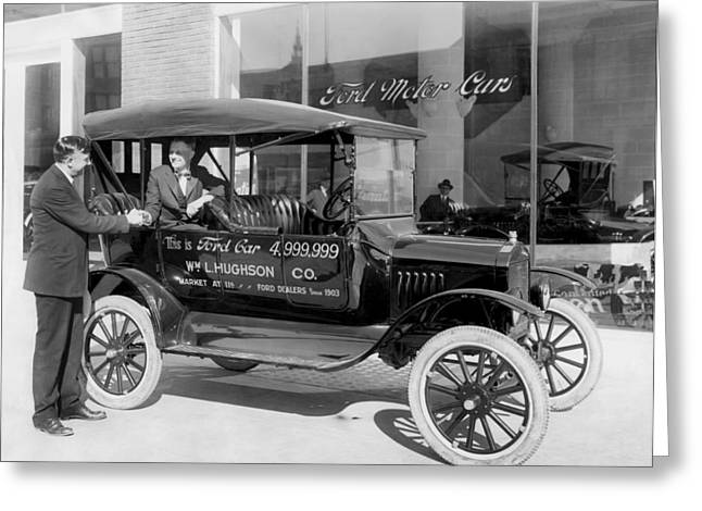 The 4,999,999 Ford Produced Greeting Card by Underwood Archives