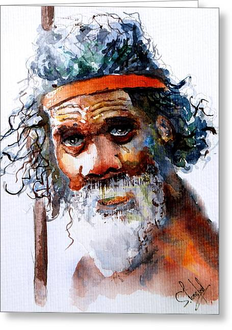 The Aborigine Greeting Card by Steven Ponsford