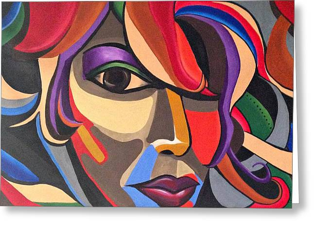 Abstract Woman Art, Abstract Face Art Acrylic Painting Greeting Card