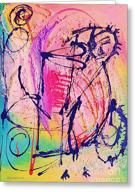 The Abstract Music Makers Greeting Card by Ruth Yvonne Ash