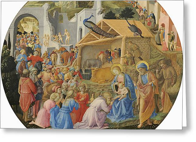 The Adoration Of The Magi, C.1440-60 Tempera On Panel Greeting Card by Fra Angelico