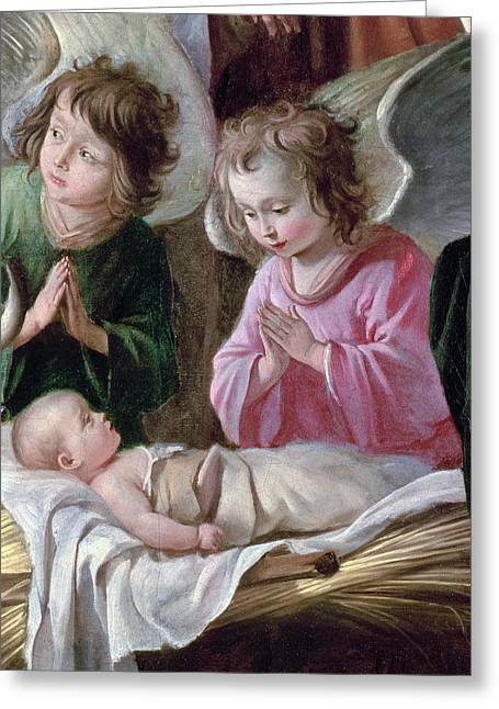 The Adoration Of The Shepherds, Angels And Child, C.1640 Oil On Canvas Detail Of 99414 Greeting Card by Antoine and Louis Le Nain