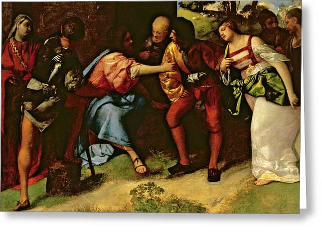 The Adulteress Brought Before Christ Greeting Card by Giorgione
