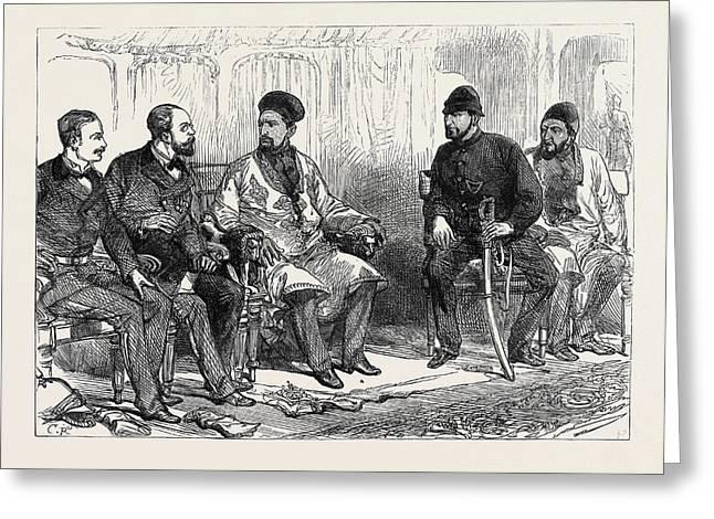The Afghan War Negotiating Peace With Yakoob Khan At Hashim Greeting Card