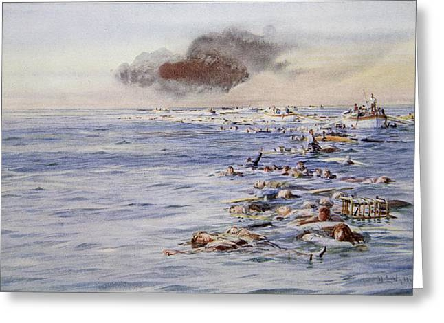 The Aftermath Of The Lusitania Greeting Card by William Lionel Wyllie