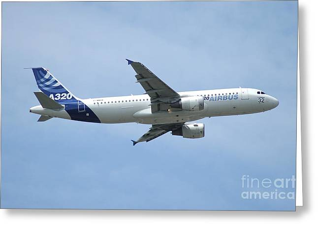 The Airbus A320 In Flight Over Paris Greeting Card by Riccardo Niccoli