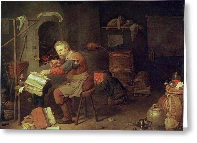 The Alchemists Workshop Greeting Card by David III Ryckaert