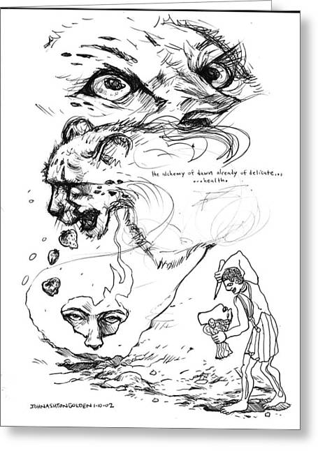 Greeting Card featuring the drawing The Alchemy Of Dawn by John Ashton Golden