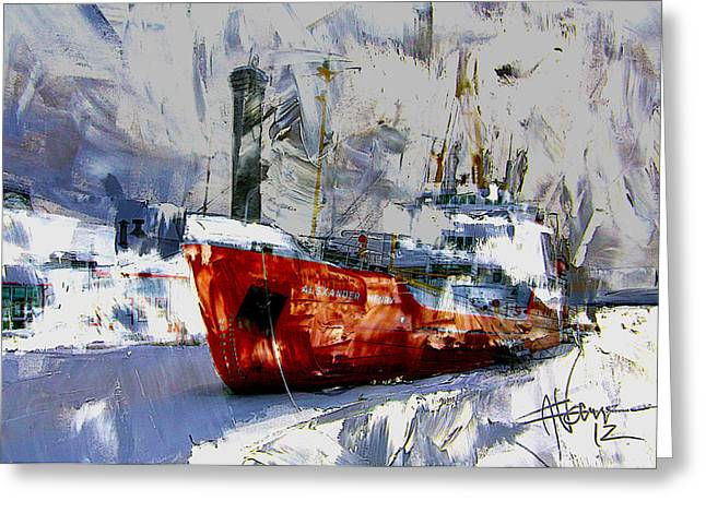 Greeting Card featuring the digital art The Alexander Henry In Winter by Jim Vance