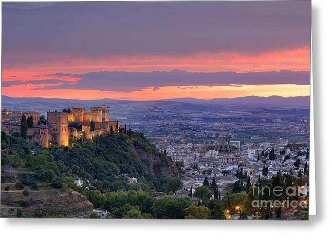 The Alhambra And Granada City At Sunset Greeting Card