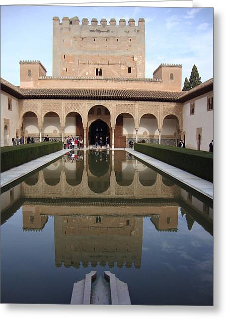The Alhambra Palace Reflecting Pool Greeting Card by David  Ortiz