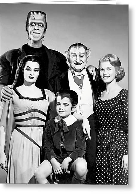 The All American Munsters Family Greeting Card by Daniel Hagerman