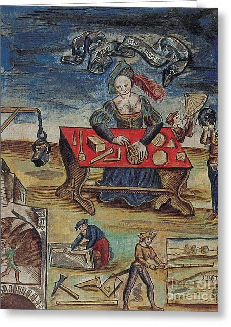 The Allegory Of Geometry, 16th Century Greeting Card