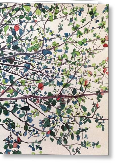 The Almond Tree Greeting Card by Aditi Bhatt