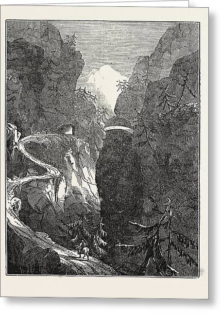 The Alpine Road, Called The Via Mala. Viamala Or Via Mala Greeting Card