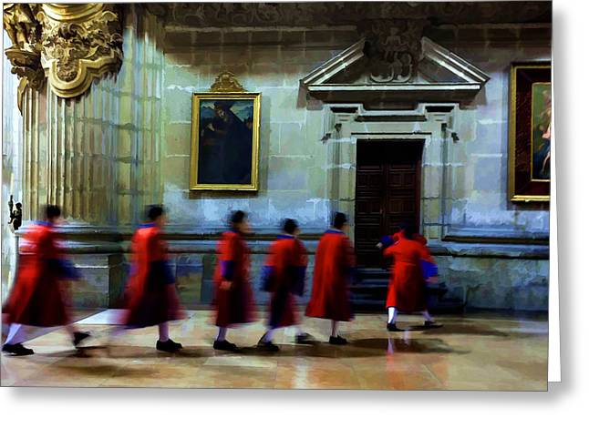 The Altar Boys Greeting Card by Lynn Palmer