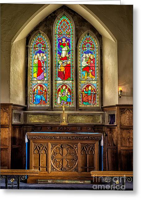 The Altar Windows Greeting Card by Adrian Evans