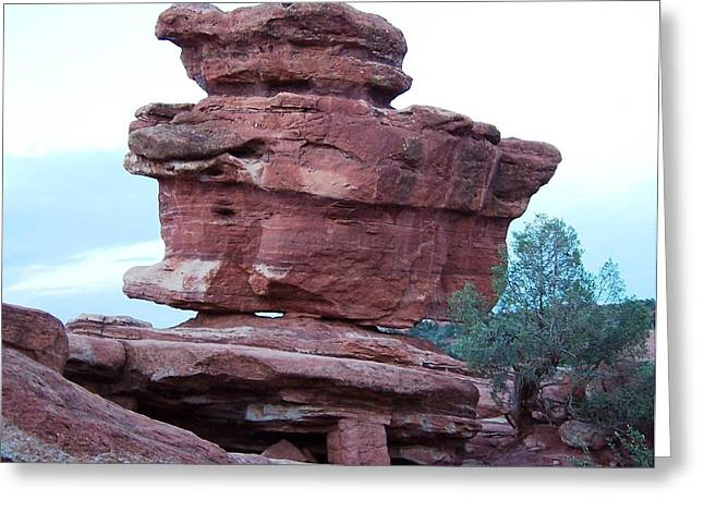 Greeting Card featuring the photograph The Amazing Balanced Rock by Sheila Byers