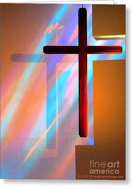 The Amazing Cross Greeting Card by JCYoung MacroXscape