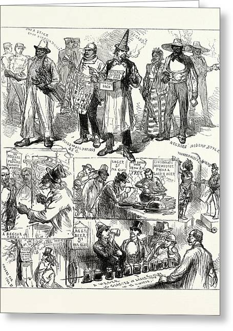 The American Centenary Festival Sketches In Philadelphia Greeting Card by American School