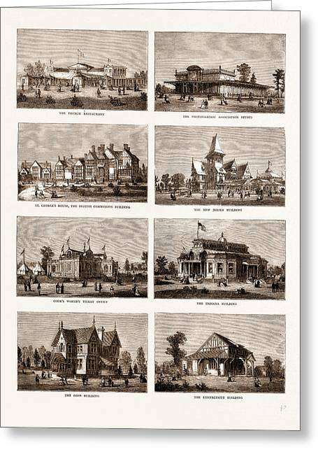 The American Centennial Exhibition Buildings In The Grounds Greeting Card