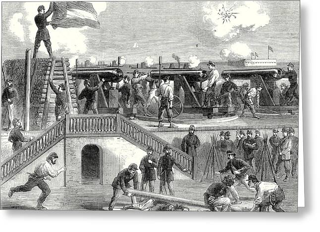 The American Civil War Scene At Fort Moultrie Greeting Card by American School