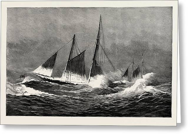 The American Fisheries Question, Fishing Schooner Icing Greeting Card by American School