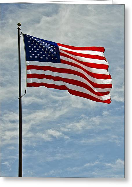 The American Flag Waving In The Wind Greeting Card