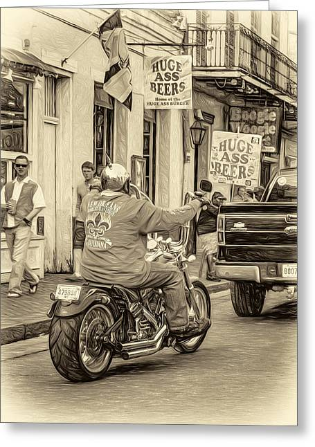 The American Way - Harleys Pickups And Huge Ass Beers - Sepia Greeting Card