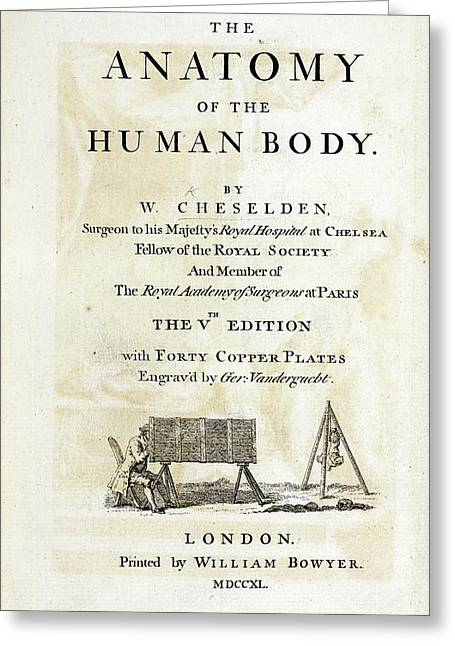 The Anatomy Of The Human Body (1740) Greeting Card by British Library