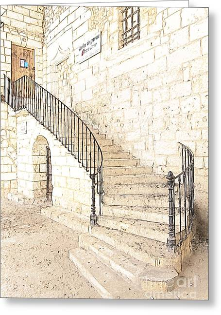 The Ancient Stone Staircase Greeting Card by Heiko Koehrer-Wagner