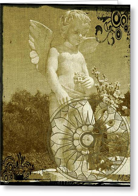 Greeting Card featuring the digital art The Angel - Art Nouveau by Absinthe Art By Michelle LeAnn Scott