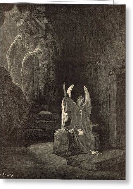 The Angel At The Sepulchre Greeting Card by Antique Engravings
