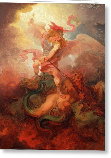 The Angel Binding Satan, Philippe-jacques De Loutherbourg Greeting Card