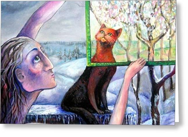 The Angel Of February Greeting Card by Elisheva Nesis