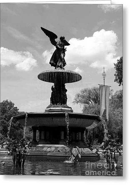 The Angel Of Waters B W - Central Park  Nyc Greeting Card by Christiane Schulze Art And Photography