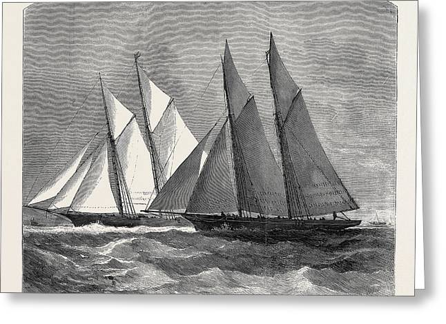 The Anglo-american Yacht Race Between The Sappho Greeting Card