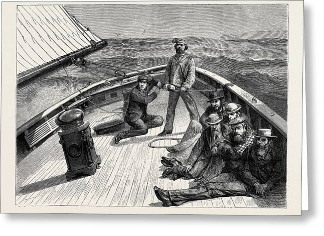 The Anglo-american Yacht-race, On Board The Cambria Greeting Card by English School