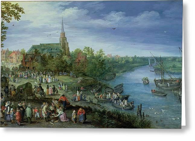 The Annual Parish Fair In Schelle, 1614 Greeting Card