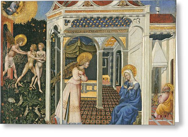 The Annunciation And Expulsion From Paradise Greeting Card by Giovanni di Paolo di Grazia
