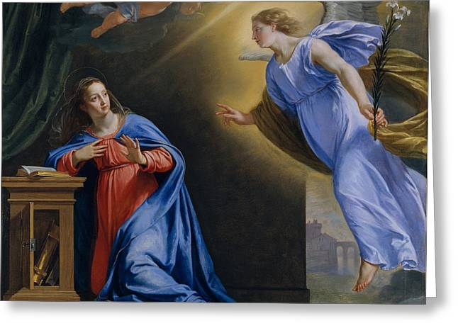 The Annunciation By Philippe De Champaigne Greeting Card by MMA Wrightsman Fund